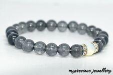 Natural Cloud Quartz Moonstone Fertility Bracelet UK Gemstone Elasticated Stone