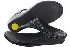 NEW FitFlop Banda Roxy Leather Sandal, Black Crystals, Women Size 37 (6 US) $140