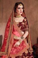 Maroon Lehanga Choli Indian Designer Party Wear Embroidery Lengha Chunri Sari