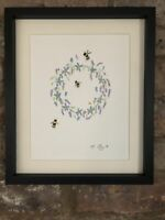 Bumble Bees, Forget Me Not Wreath, Lavender, Original Watercolour Painting