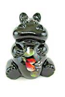 "FENTON ART GLASS 2006 GLOSSY BLACK HIPPO ""PARADISE"" FIGURINE W/HP FLORAL~~SIGNED"
