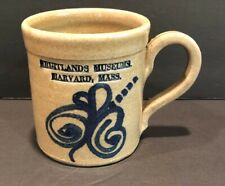 Fruitlands Museum Sampson Pottery Mug 1989 Westminster Harvard Mass Brown Blue
