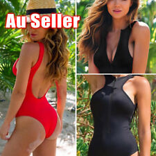 Women One Piece Bikini Monokini Swimsuit Padded Backless Swimwear BeachWear OZ