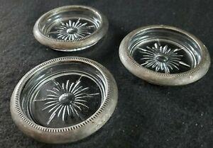 VINTAGE SET of 3 Pressed Glass Starburst Drink COASTER w/Silver Plated Trim Ring