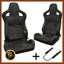Pair BB6 Reclining Sports Bucket Seats Black Alcantara Suede + Universal Runners