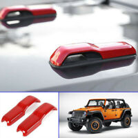 2pcs Hood Hinge Cover Decoration Stickers Trim fit for Jeep Wrangler JL 18+ Red
