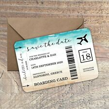 Personalised Destination Wedding Save the Date,Boarding Card, packs of 10