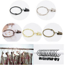 Metal Curtain Rings With Clips Hanging Curtain Pole Rod Voile Opening Design