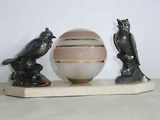 05B87 ANCIENNE LAMPE VEILLEUSE ART DÉCO 1930 - 1940 STATUE RÉGULE OISEAUX SIGNE
