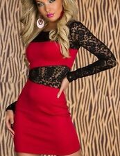 Red Floral Lace Long Sleeve Stretch Mini Dress Lingerie 2738