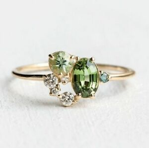Luxury 18K Gold Rings for Women Wedding Engagement Emerald Jewelry Gifts Sz 6-10