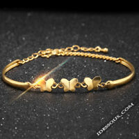 18K Goldkette Armreif Schmetterling Luxus Armkette Damen Geschenk Bracelet  47€