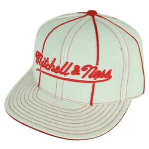 Mitchell & Ness Embroidered Logo White Striped Flat Bill Fitted 7 1/2 Hat Cap
