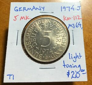 #3519 West Germany 1974-J 5 Mark, KM-112, Select Uncirculated, light toning