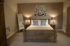 """New Solid Wood Rustic Chunky Double Plank Bed, Wooden Bed 4ft 6"""" Bed frame"""