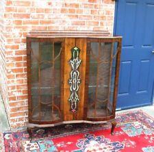 English Antique Queen Anne Burled Walnut Display Cabinet .