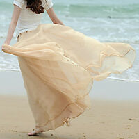 UK Women Double Layer Chiffon Pleated Retro Long Maxi Dress Elastic Waist Skirt