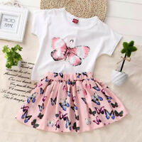 2pc Baby Girls Clothes Summer Tee +Short Skirts Kids Girls Casual Outfits Dress