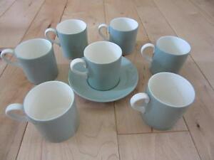 WEDGWOOD OF ETRURIA & BARLASTON GREEN SEVEN DEMITASSE CUPS + 1 SAUCER