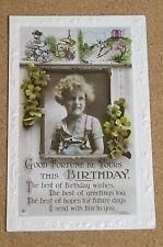 Vintage Postcard: Birthday Greetings, Little Girl, Flowers, Jack & the Beanstalk