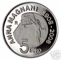 5 euro Italia 2008 argento PROOF 100° Anna Magnani