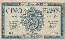 Bank of Algeria 1942 Military Currency ~ 5 Francs
