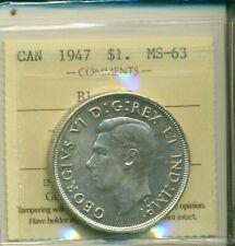 ICCS Canada 1947 $1 MS-63 Blunt 7 XMT 300