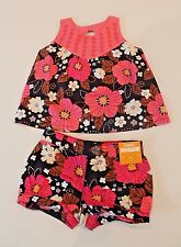 Gymboree Safari Twirl Black & Pink Floral Shorts & Top Outfit Toddler Girl 2T