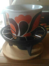 Beau service à fondue décor paon dans boîte d'origine LE CREUSET + fourchettes