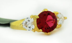 RUBY 2.10 Cts & WHITE SAPPHIRES RING 14K Yellow Gold Plated  NWT SIze 7