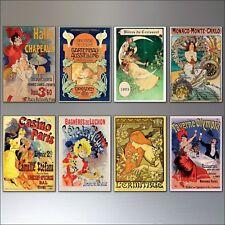 a Set of 8 Vintage French Art Nouveau Bohemian Poster Prints Fridge Magnets