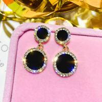 Black & White Diamonds 14k Yellow Gold Over 2.80Ct Wedding Drop Dangle Earrings