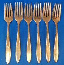 New listing Vintage Set of 6 Dirilyte Dirigold Regal Gold Flatware Salad Forks Script Logo