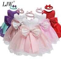 Baby Dress Sequin Lace Flower Christening Gown Baptism Clothes Newborn Kids Girl