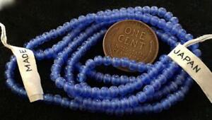 Vintage 3mm Translucent Blue Glass Beads Japan 100