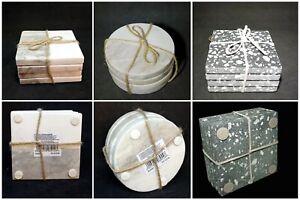 Set of 4 Marble Coasters Stylish Two Tone Marble Coaster Tea Coffee Cup Coaster