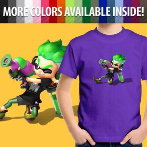 Nintendo Splatoon 2 Green Inkling Boy Ink Gun Game Unisex Kids Youth T-Shirt