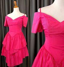 80's Cocktail Party Dress XS Madonna Pink Off Shoulder Peplum Acetate Vtg Fancy