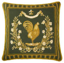 "19"" x 19"" Handmade Wool Needlepoint French Country Rooster Pillow"
