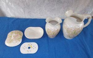 Antique 5 Pc. Cauldron England Porcelain Victorian Chamber Bath Set