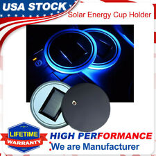 2X Energy Cup Holder Bottom Pad LED Light Cover Trim Atmosphere Lamp For All car