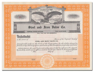 Steel and Iron Valve Co. Stock Certificate (New Jersey)