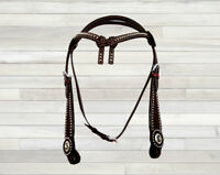 PRO WESTERN HEADSTALL BRIDLE HORSE TRAIL PLEASURE TACK KNOTTED BROW BAND
