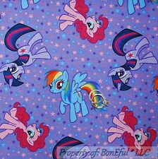 BonEful FABRIC Cotton Quilt Purple Pink LITTLE PONY Girl Star Horse L SALE SCRAP