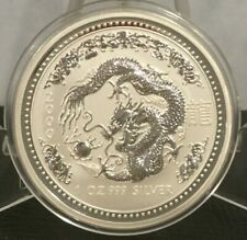 2000 AUSTRALIAN LUNAR Series 1 YEAR of the DRAGON 1 oz SILVER COIN BU .999 fine