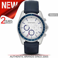 Emporio Armani Sigma Men's Watch│Chronograph Dial│Blue Leather Strap│AR6096