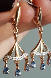 Solid rose gold 585 14k Chandelier Long earrings blue spinel NWT