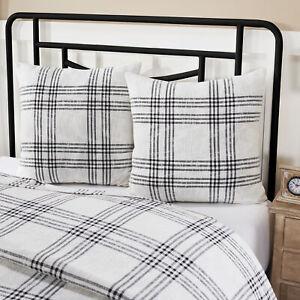 VHC Brands Farmhouse Euro Sham Black Plaid Textured Cotton Square Bedroom Decor