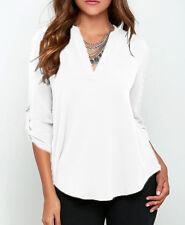 Plus Size Women's Casual Top Chiffon Loose Long Sleeve Blouse Shirt Blouse Tops