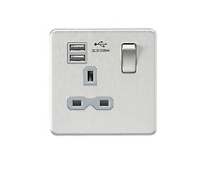SCREWLESS 13A 1G SWITCHED SOCKET DUAL USB CHARGER - BRUSHED CHROME- GREY INSERT